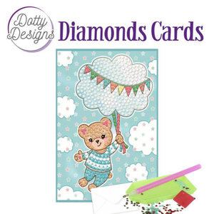 Dotty Designs   Diamond Painting Geboortekaart Blue Baby Bear