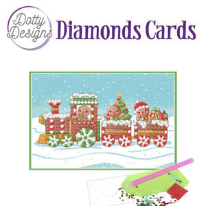 Dotty Designs   Diamond Painting Kerstkaart Christmas Train