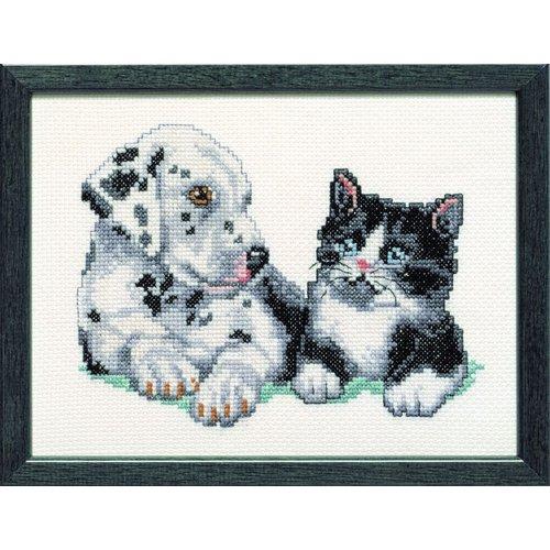 Pako borduurpakket jonge dalmatier en een lief katje