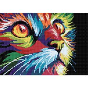 Wizardi Diamond Painting Rainbow Cat WD200