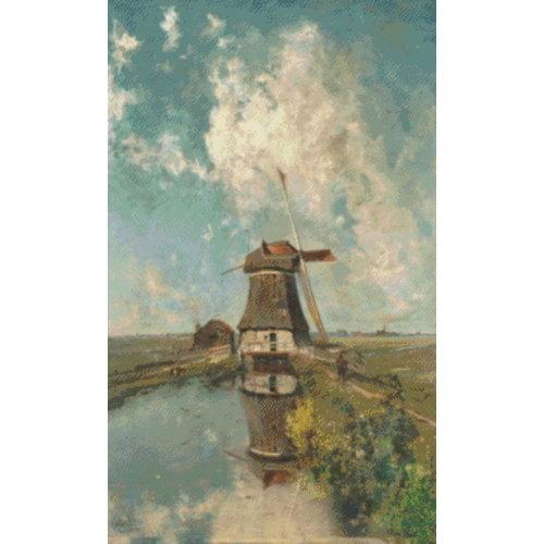 PixelHobby Pixelhobby Patroon 5617 Een molen aan een poldervaart