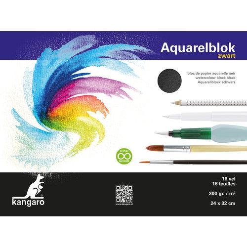 Kangaro Aquarelpapier Kangaro 32x24cm 300 gram 16 vel zwart