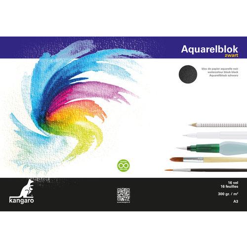 Kangaro Aquarelpapier Kangaro A3 300 gram 16 vel zwart