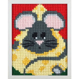 Pako Pako Borduurpakket van smikkelende muis voor kinderen, voorbedrukt