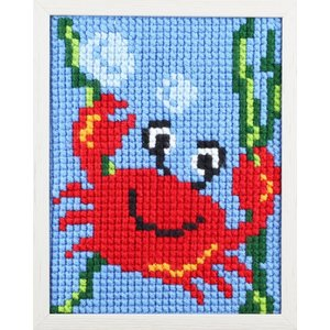 Pako Pako Borduurpakket leuke krab voor kinderen, voorbedrukt