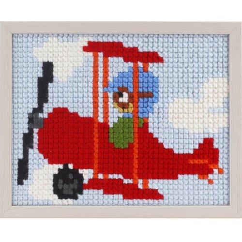 Pako Pako Borduurpakket vliegtuig voor kinderen, voorbedrukt