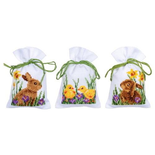 Vervaco Vervaco Kruidenzakjes konijnen met kuikentjes 3 stuks 0187096