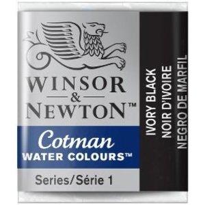 Winsor & Newton W&N Cotman Aquarelverf Half Napje Ivory Black