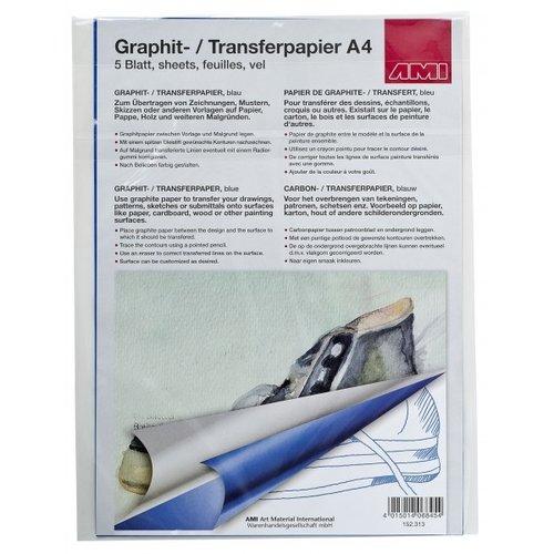 Ami Grafietpapier blauw A4 5 vellen