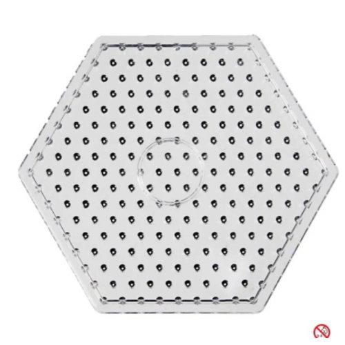 Creotime Maxi strijkkralen grondplaat zeshoekig transparant 17 cm