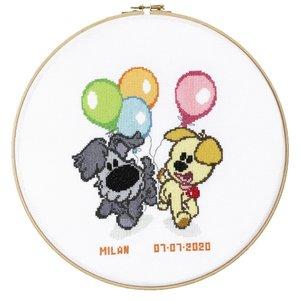 Pako Borduurpakket Woezel & Pip kids geboorte met ballonnen271.05