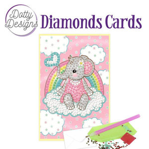 Dotty Designs   Diamond Painting Wenskaart Roze Olifant