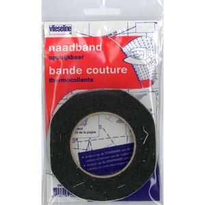 Vlieseline Naadband Opstrijkbaar Zwart 1cm 12,5 meter