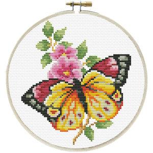 Needleart Needleart voorbedrukt borduurpakket Vlinder en bloem 240.057