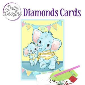 Dotty Designs   Diamond Painting Wenskaart Olifant Verjaardag
