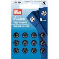 Aannaaidrukknopen 9mm Zwart 12 stuks