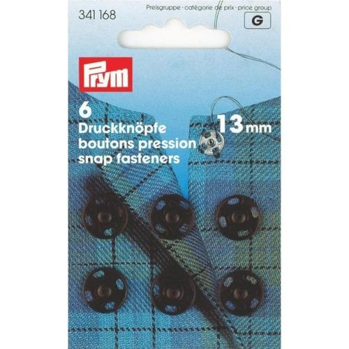 Prym Aannaaidrukknopen 13mm Zwart 6 stuks
