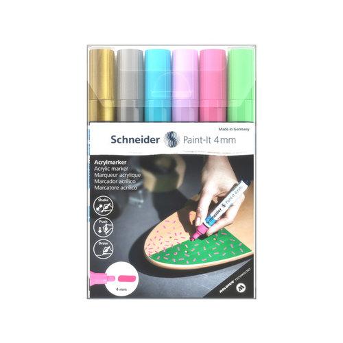 Schneider Acryl Marker Schneider Paint-it 320 4mm etui 6 stuks Pastelkleuren