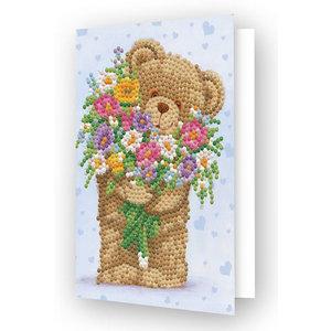 Diamond Dotz Diamond Dotz Kaart Knuffelbeer met bloemen