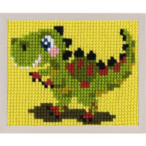 Pako Borduurpakket dinosaurus T- rex voor kinderen, voorbedrukt