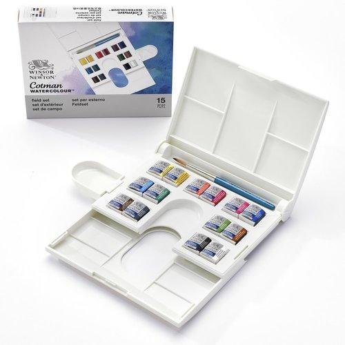 Winsor & Newton Winsor & Newton Cotman Water Colour Compact Set 14 halve napjes + 1 penseel + palet
