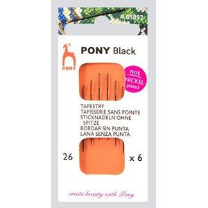 Pony Pony Zwarte Borduurnaalden nr 26 zonder punt 6 stuks