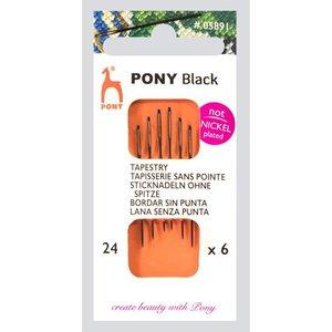Pony Pony Zwarte Borduurnaalden nr 24 zonder punt 6 stuks