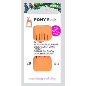 Pony Pony Zwarte Borduurnaalden nr 28 zonder punt 5 stuks
