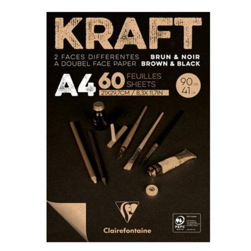 Clairefontaine Kraft bruin zwart papier 90 gram Clairefontaine