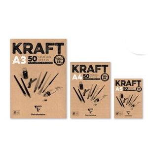 Clairefontaine Kraft papier bruin blok 50 vellen 120 grams Clairefontaine