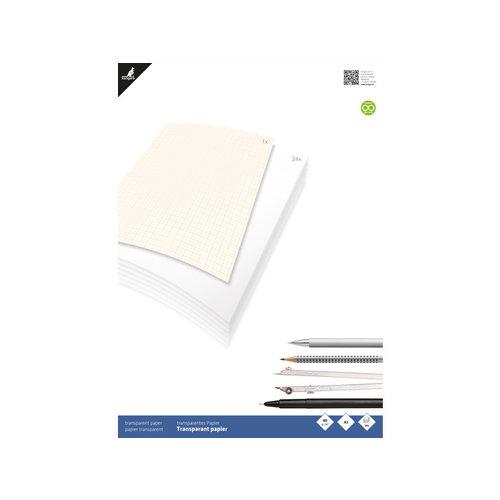 Kangaro Transparant papier Kangaro A3 blok 24 vel met 1 vel millimeterpapier
