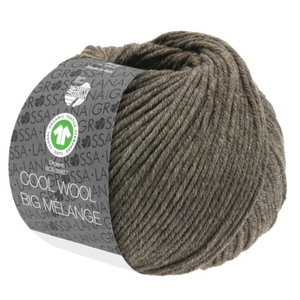 Lana Grossa Lana Grossa Cool Wool Big Mélange Gots 50 gram Grijsbruin  Nr 224