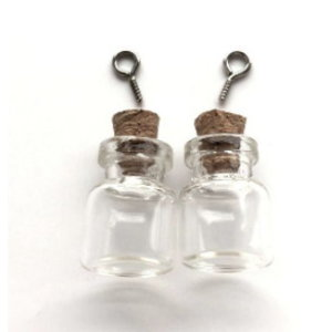 Mini glazen flesjes met kurk & schroef 15x22mm
