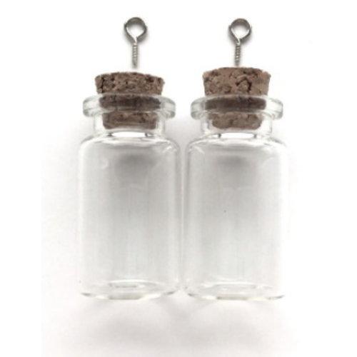 Mini glazen flesjes met kurk & schroef 22 x 40 mm