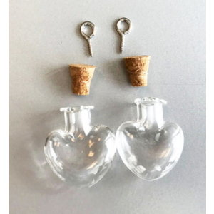 Mini glazen flesjes hart met kurk & schroef 21 x 10 mm x 24 mm