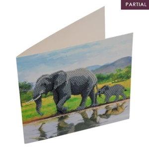 Crystal Art Diamond painting kaart olifant met jong cck-A51