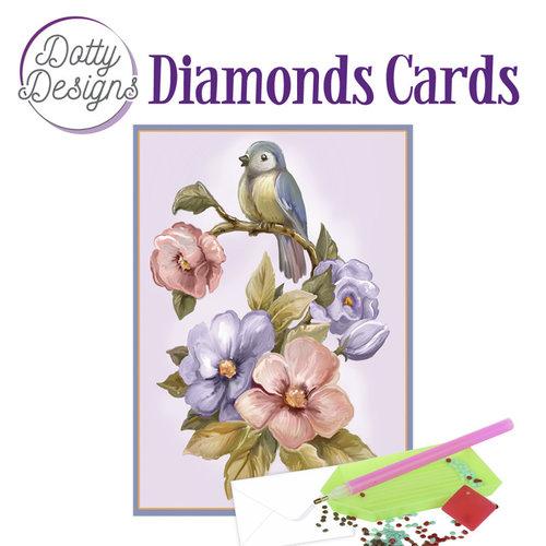 Dotty Designs   Dotty Design Diamond Painting Kaart Vogel en bloemen