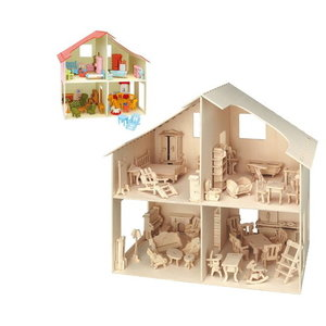 Pebaro Poppenhuis met meubeltjes