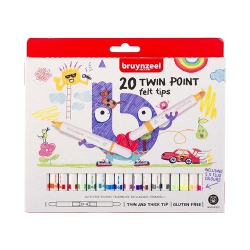 Bruynzeel Bruynzeel Kids Dubbelpuntige Viltstiften Set 20 stuks