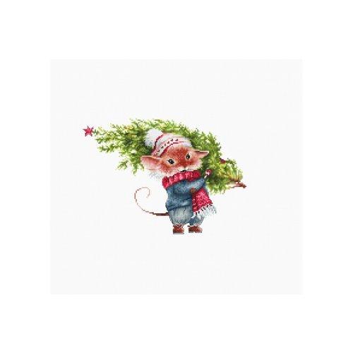 Luca S Luca S borduurpakket Muis met kerstboom B1169