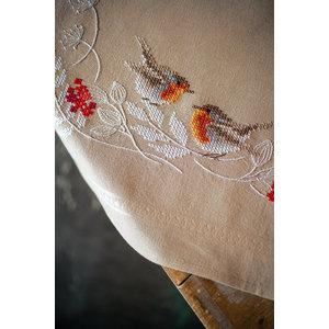 Vervaco Vervaco Tafelkleed Roodborstjes in de Winter 0187116