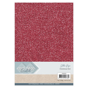 Glitter papier Kerstrood 230 grams 6 vel A4 formaat
