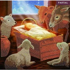 Crystal Art Crystal Art Diamond Painting Kerstkaart Baby in Kribbe