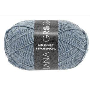 Lana Grossa Lana Grossa Meilenweit 150 gram 6 draads nr 9226 Grijsblauw Gemêleerd