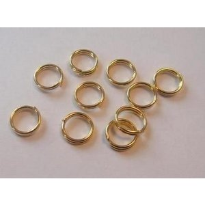 CraftEmotions Dubbel splitring goudkleur 6 mm 10 stuks