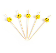 200st. Cocktailprikkers bamboe Smiley 120mm