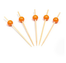 250st. Cocktailprikkers bamboe met oranje bol 120mm