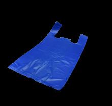 1000st. Plastic Markt tassen Blauw HDPE 30+20x60 cm