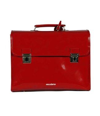 Escudama Stijlvolle boekentas in lakleder rood Escudama