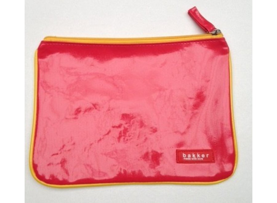 Glimmend etui vinyl Bakker made with love donker roze